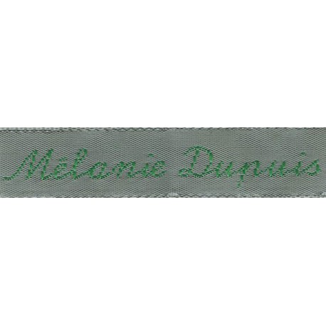 Woven labels, Model Y - Grey 12mm ribbon - Green lettering