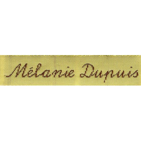 Woven labels, Model Y - Yellow 12mm ribbon - Brown lettering