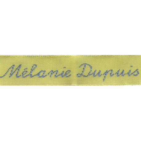 Woven labels, Model Y - Yellow 12mm ribbon - Sky-blue lettering