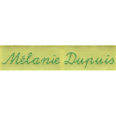 Woven labels, Model Y - Yellow 12mm ribbon - Green lettering
