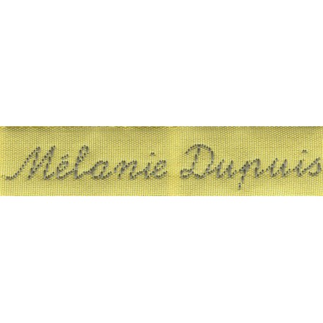 Woven labels, Model Y - Yellow 12mm ribbon - Grey lettering