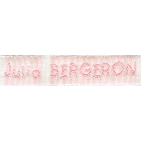 Woven labels, Model V - White 12mm ribbon - Pink lettering