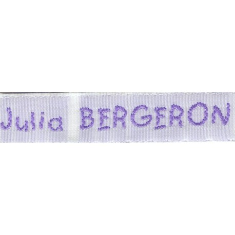 Woven labels, Model V - White 12mm ribbon - Violet lettering