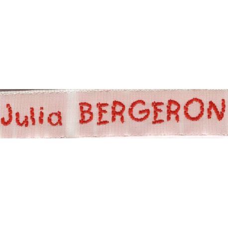 Woven labels, Model V - White 12mm ribbon - Red lettering
