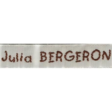 Woven labels, Model V - White 12mm ribbon - Brown lettering