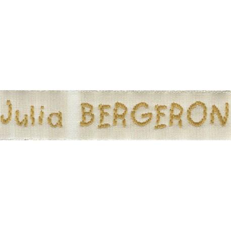 Woven labels, Model V - White 12mm ribbon - Antique Gold lettering