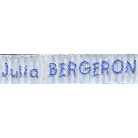 Woven labels, Model V - White 12mm ribbon - Sky-blue lettering