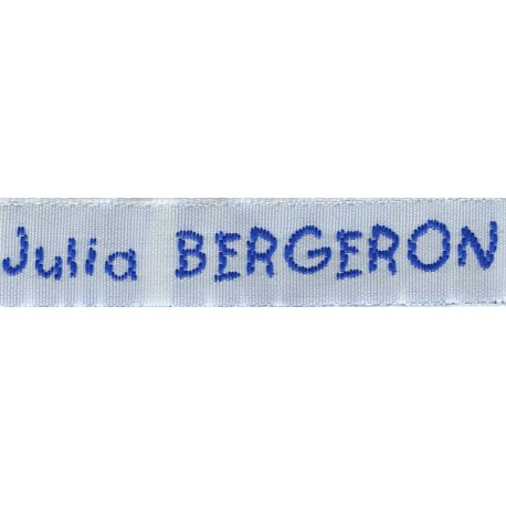 Woven labels, Model V - White 12mm ribbon - Royal blue lettering