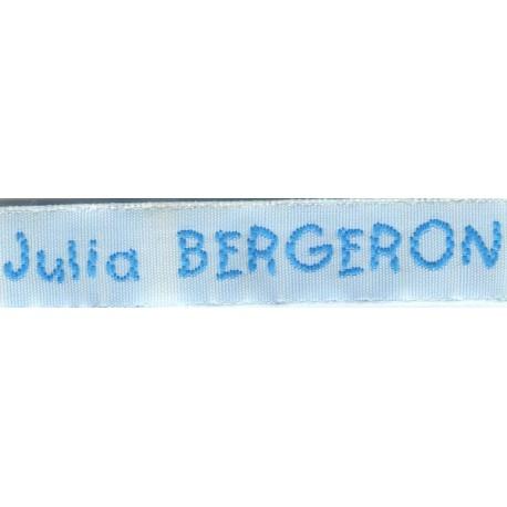 Woven labels, Model V - White 12mm ribbon - Turquoise lettering