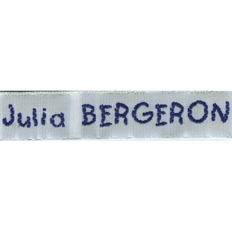 Woven labels, Model V - White 12mm ribbon - Navy lettering