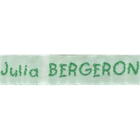 Woven labels, Model V - White 12mm ribbon - Green lettering