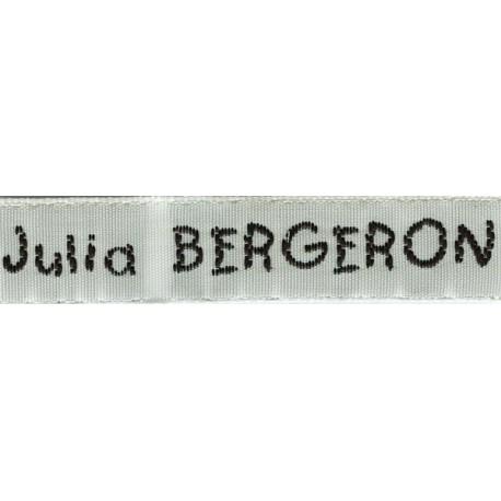 Woven labels, Model V - White 12mm ribbon - Black lettering