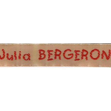 Woven labels, Model V - Beige 12mm ribbon - Red lettering