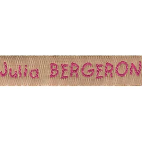 Woven labels, Model V - Beige 12mm ribbon - Fuchsia lettering