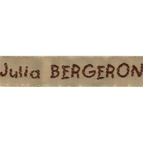 Woven labels, Model V - Beige 12mm ribbon - Brown lettering