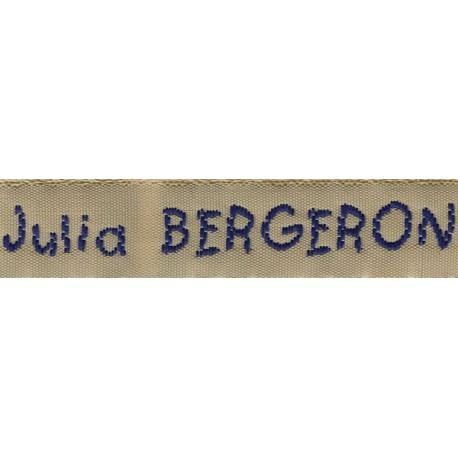 Woven labels, Model V - Beige 12mm ribbon - Navy lettering