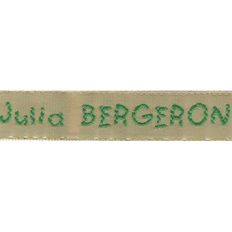 Woven labels, Model V - Beige 12mm ribbon - Green lettering