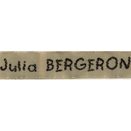 Woven labels, Model V - Beige 12mm ribbon - Black lettering