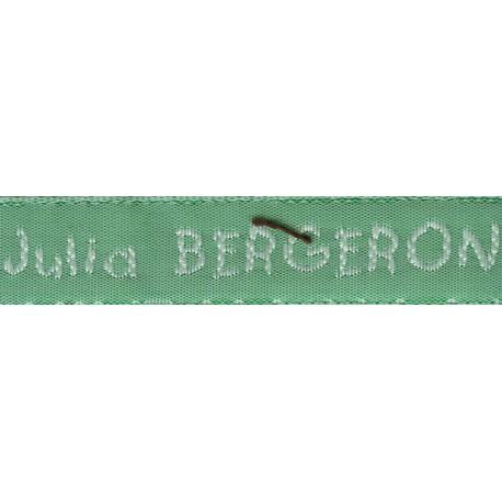 Etiquettes tissées Modèle V - Ruban Vert 12 mm - Lettrage Blanc