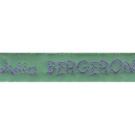 Woven labels, Model V - Green 12mm ribbon - Violet lettering