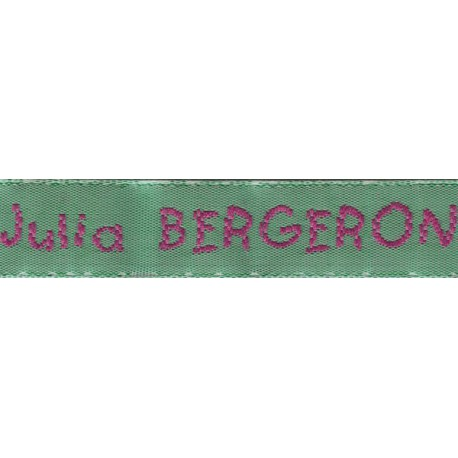 Woven labels, Model V - Green 12mm ribbon - Fuchsia lettering