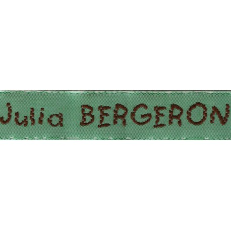 Woven labels, Model V - Green 12mm ribbon - Brown lettering