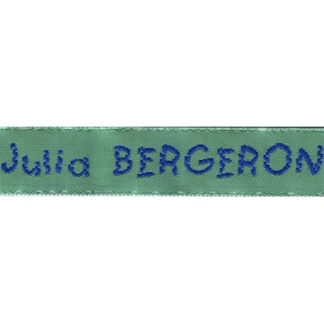 Woven labels, Model V - Green 12mm ribbon - Royal blue lettering