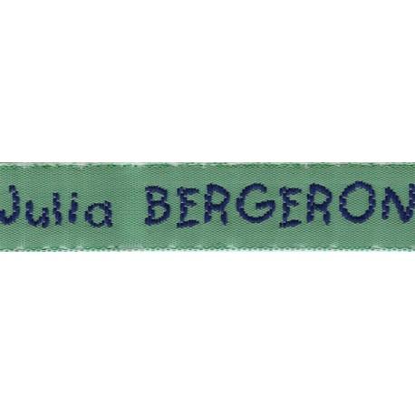 Woven labels, Model V - Green 12mm ribbon - Navy lettering