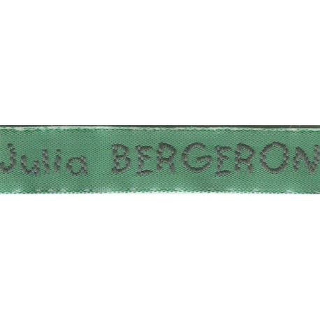 Woven labels, Model V - Green 12mm ribbon - Grey lettering