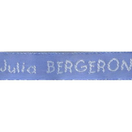 Woven labels, Model V - Blue 12mm ribbon - White lettering