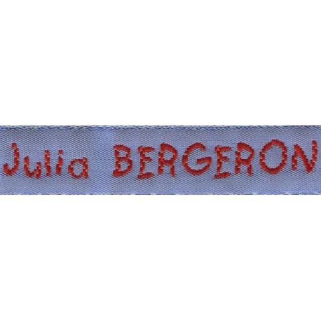 Etiquettes tissées Modèle V - Ruban Bleu 12 mm - Lettrage Rouge