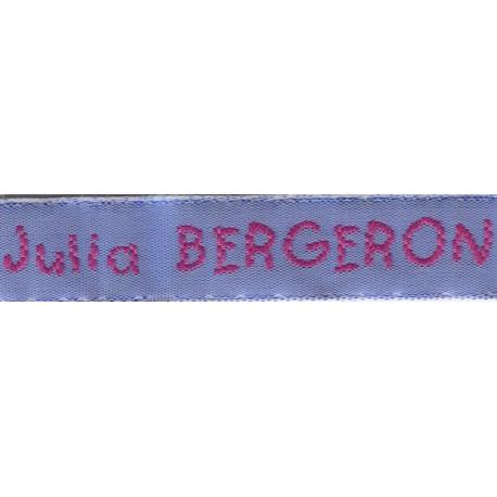 Etiquettes tissées Modèle V - Ruban Bleu 12 mm - Lettrage Fushia