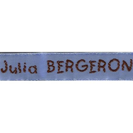 Woven labels, Model V - Blue 12mm ribbon - Brown lettering