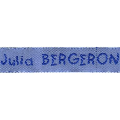 Etiquettes tissées Modèle V - Ruban Bleu 12 mm - Lettrage Roy