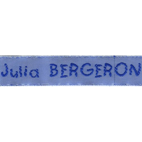 Woven labels, Model V - Blue 12mm ribbon - Royal blue lettering
