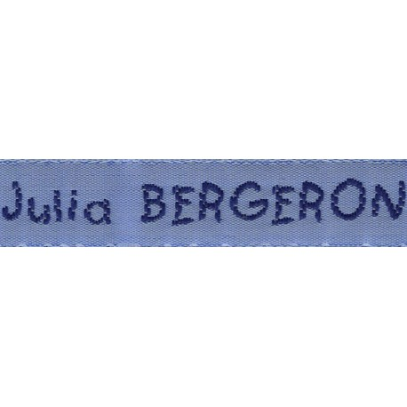 Woven labels, Model V - Blue 12mm ribbon - Navy lettering