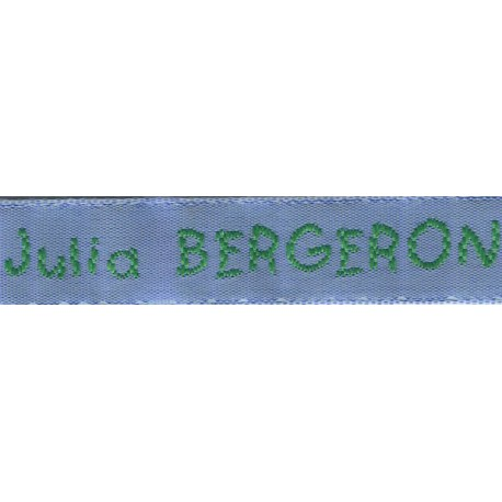 Woven labels, Model V - Blue 12mm ribbon - Green lettering