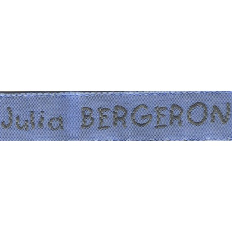 Woven labels, Model V - Blue 12mm ribbon - Grey lettering