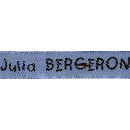 Woven labels, Model V - Blue 12mm ribbon - Black lettering