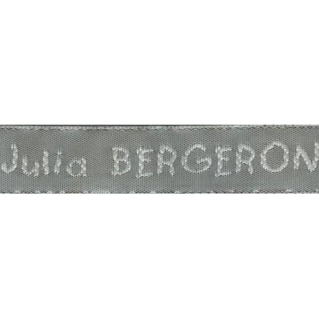 Etiquettes tissées Modèle V - Ruban Gris 12 mm - Lettrage Blanc