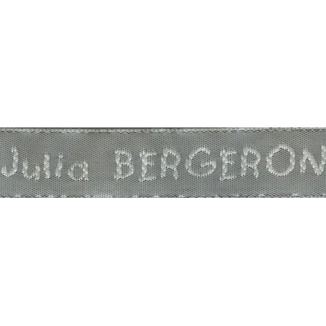 Woven labels, Model V - Grey 12mm ribbon - White lettering