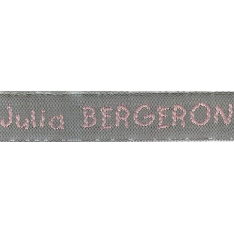 Etiquettes tissées Modèle V - Ruban Gris 12 mm - Lettrage Rose