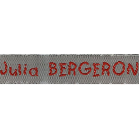 Woven labels, Model V - Grey 12mm ribbon - Red lettering