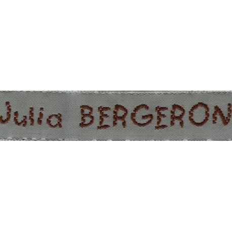 Woven labels, Model V - Grey 12mm ribbon - Brown lettering