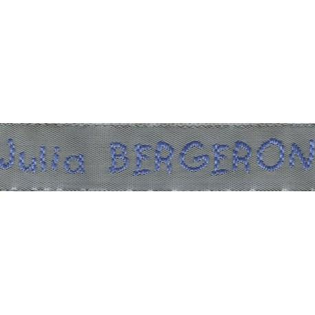 Woven labels, Model V - Grey 12mm ribbon - Sky-blue lettering