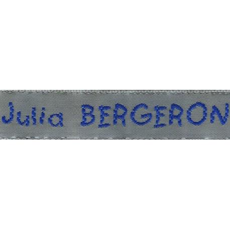 Woven labels, Model V - Grey 12mm ribbon - Royal blue lettering