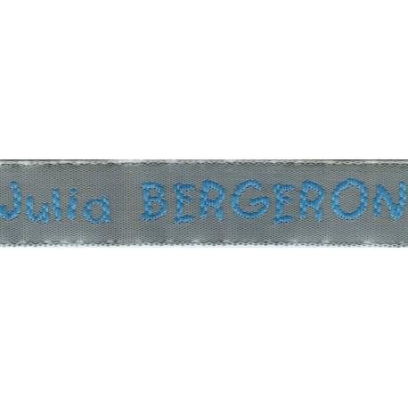 Etiquettes tissées Modèle V - Ruban Gris 12 mm - Lettrage Turquoise