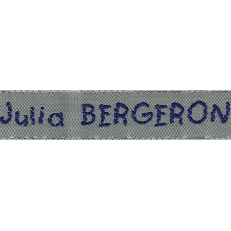Woven labels, Model V - Grey 12mm ribbon - Navy lettering