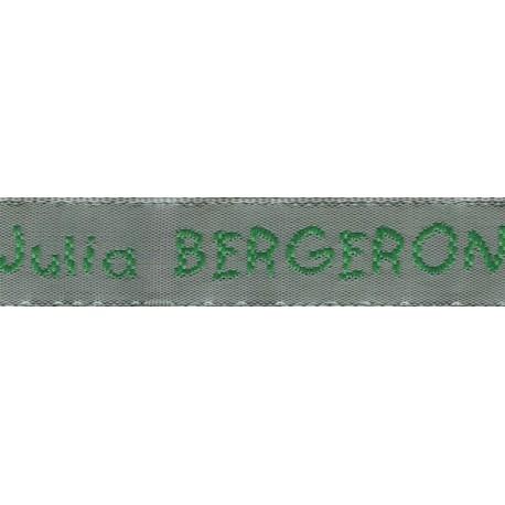 Etiquettes tissées Modèle V - Ruban Gris 12 mm - Lettrage Vert