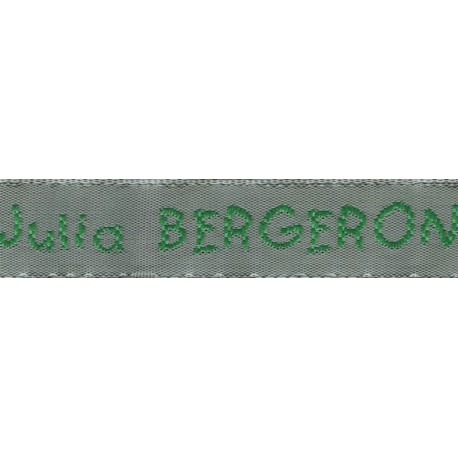 Woven labels, Model V - Grey 12mm ribbon - Green lettering